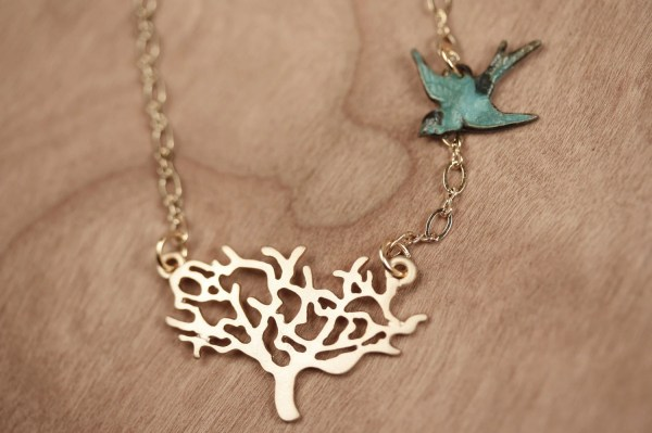 Gold Tree Necklace With Blue Bird Charm Pendant