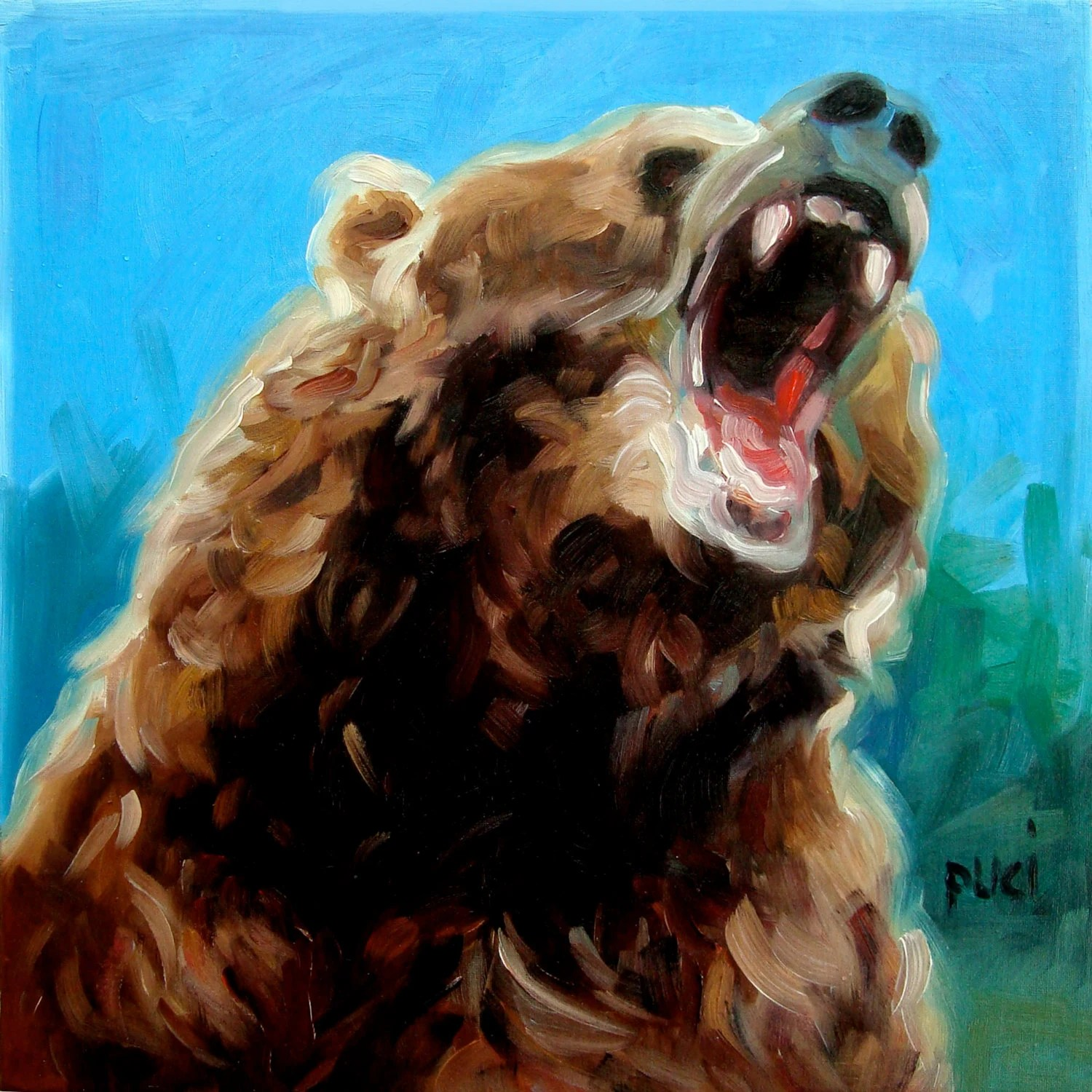 Growling Bear Oil Painting By Puci 8x8 Inches
