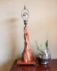 Vintage Burl Wood Table Lamp Mid Century by FullCircleRetro