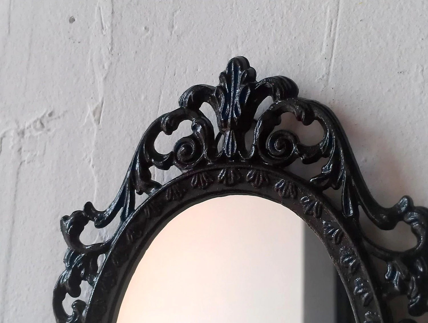 Black Princess Mirror In Tiny Vintage Metal Filigree Frame