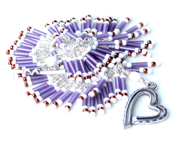 my patterned heart. bracelet. wire wrapped bugle beads. seed beads. heart clasp. purple matte bugle beaded bracelet - UniqueNecks