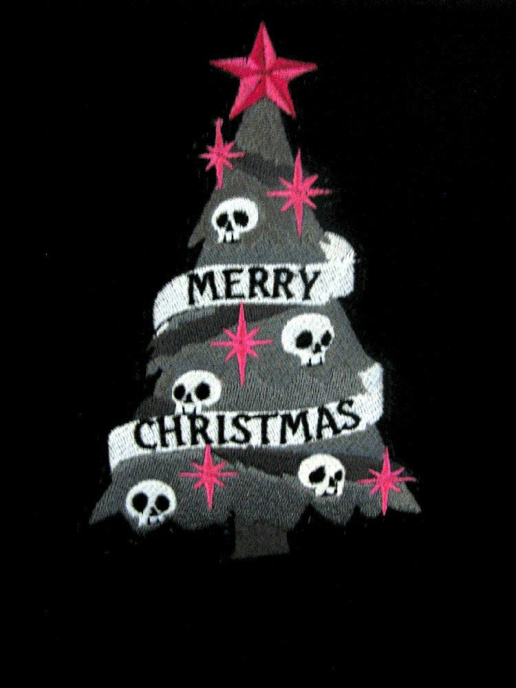 Spooky Goth Christmas Tree Embroidered Black Fleece Scarf