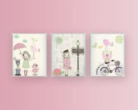 Nursery wall art print Baby room decor Baby girl Paris