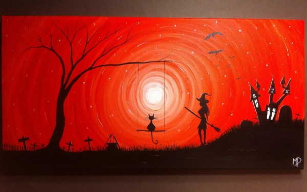 Everyday is Halloween 12 x 24 acrylic on canvas ready to