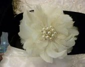 "Satin Sash Belt, 4"" Bridal Sash, Bridal Belt, Wedding Sash, Wedding Accessories, Black Sash, Ivory Feather flower, Weddings"