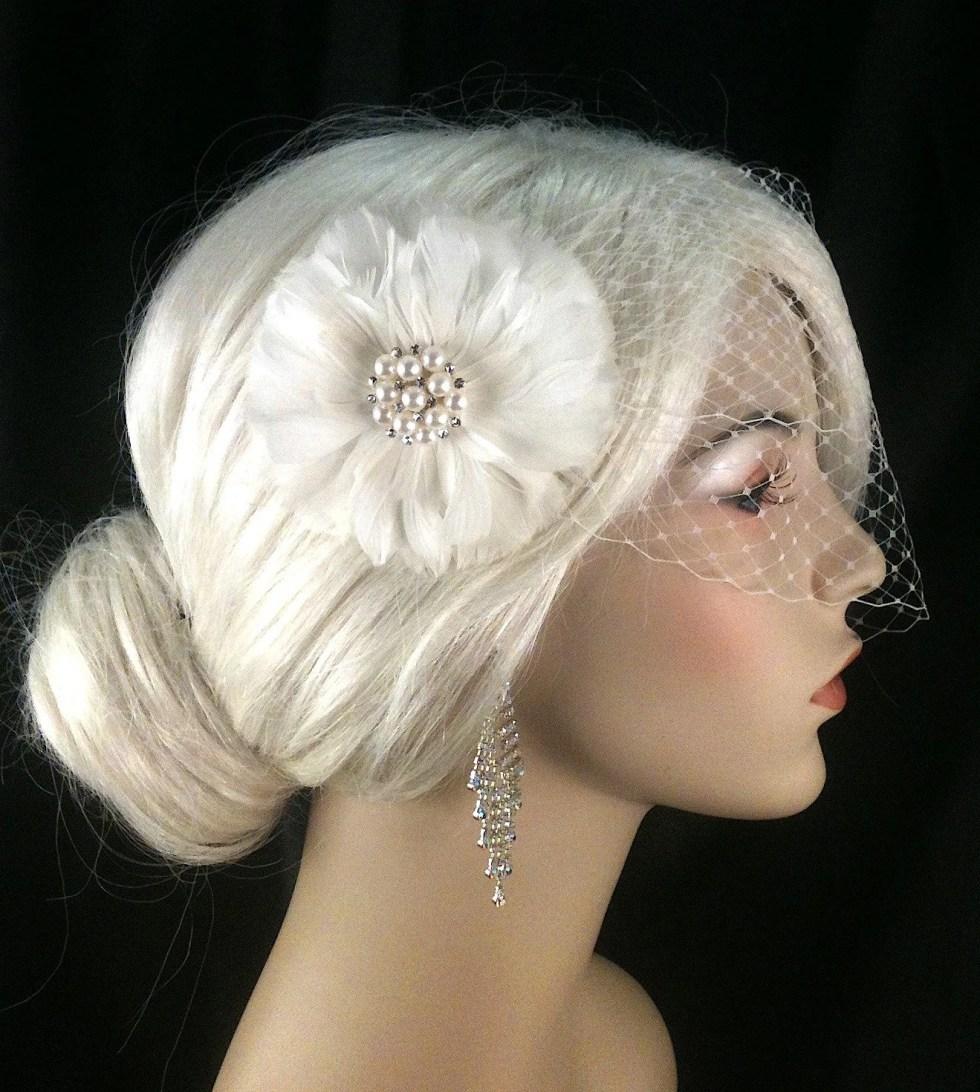 Birdcage Veil, Bridal Veil and Bridal Clip, Bandeau Birdcage Veil, Blusher, Bird Cage Veil, Ivory Feather Flower Hair Clip
