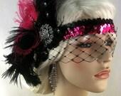 Gatsby Headband, Flapper Headband, Downton Abbey, Headband,1920s Head Piece, Art Deco Headband, Rhinestone Veil/Mask, Black Pink, Speakeasy