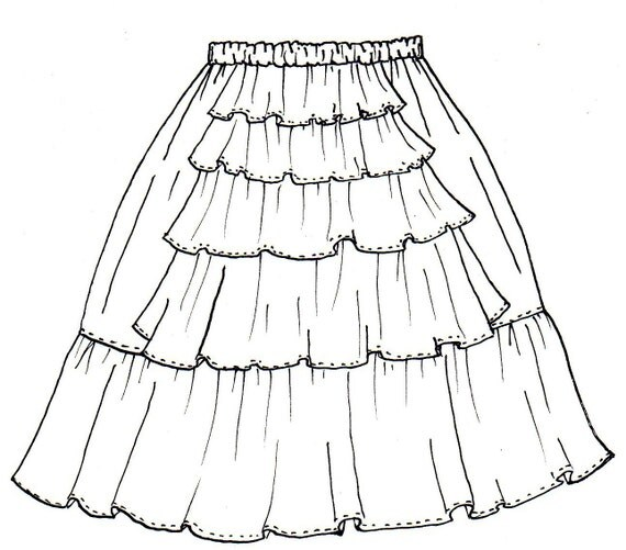 Items similar to Fully Elastic Bustle Back Skirt Pattern