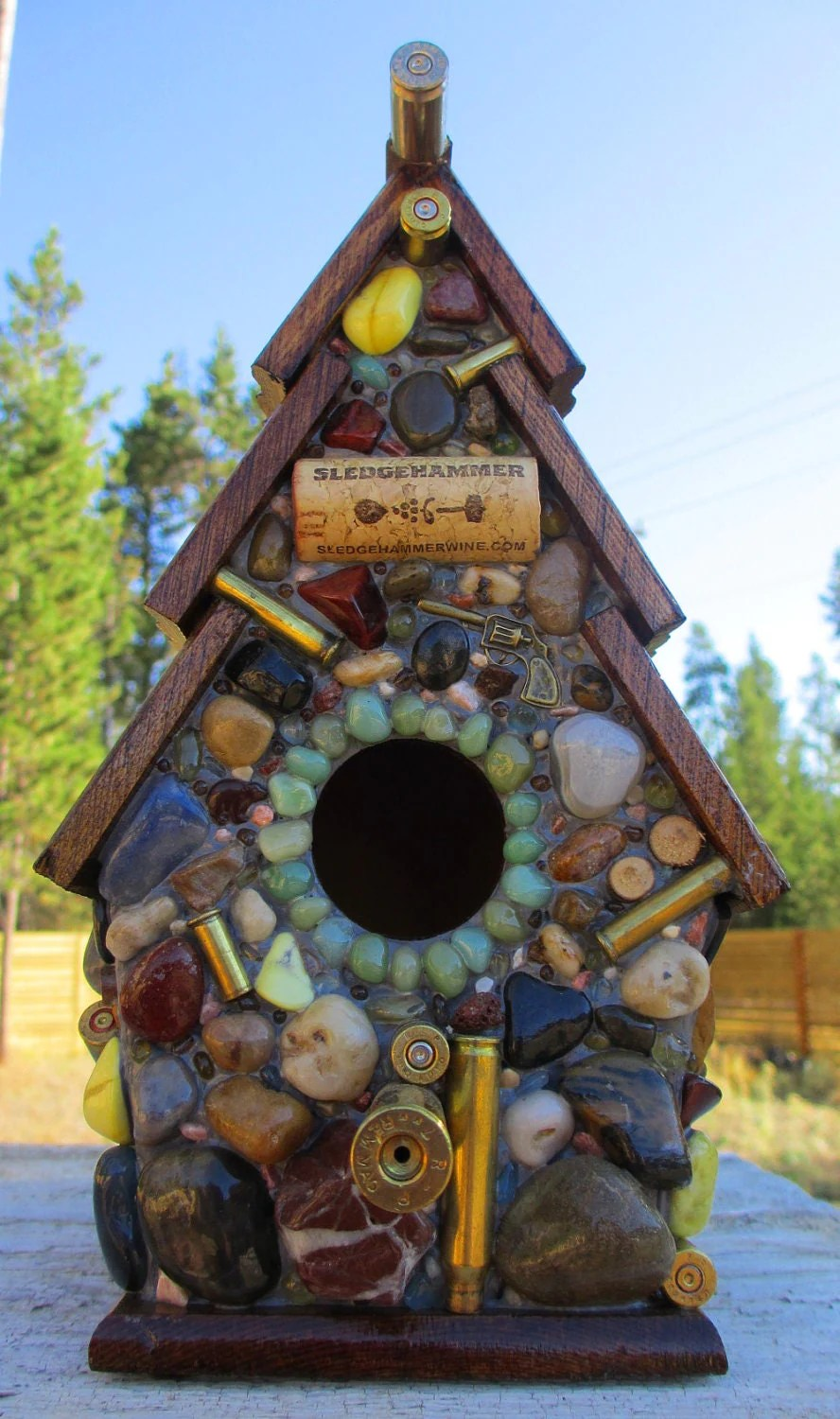 Birdhouse with Recycled Bullet Shell Casings Wood Rounds and