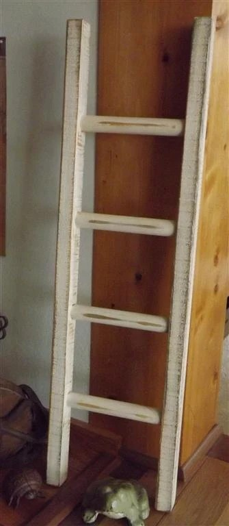 Reclaimed Wood Ladder primitive white by