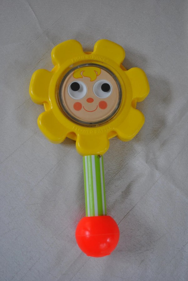 Vintage 1973 Fisher Baby Toy Flower Rattle