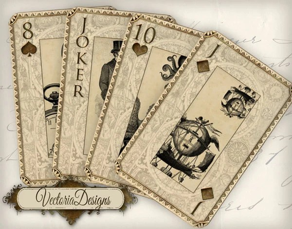 Steampunk And Science Playing Cards Full Deck By