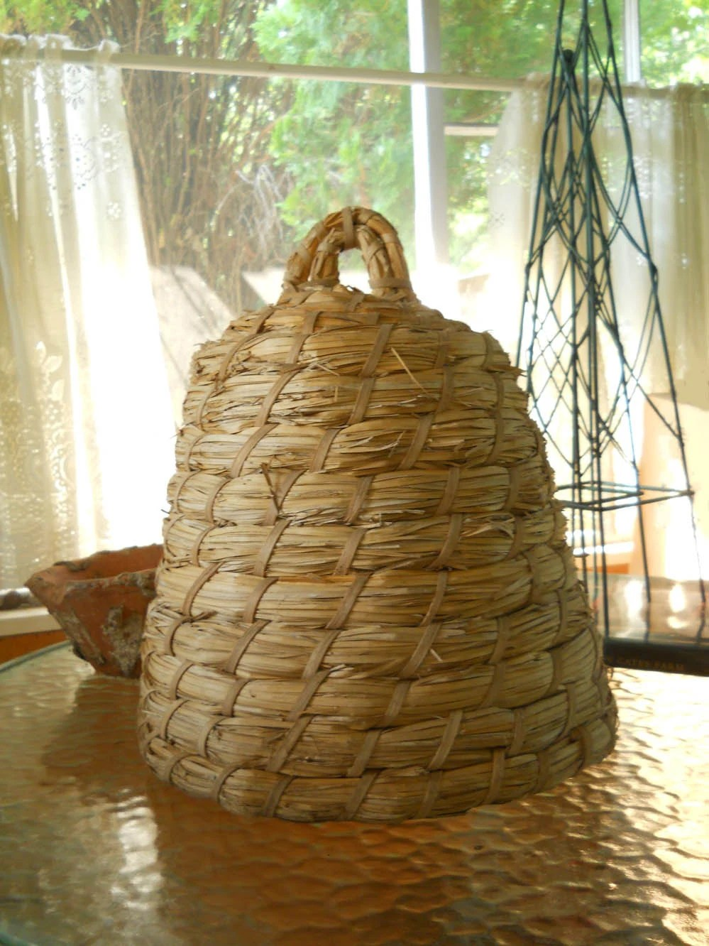 Vintage Large Woven Bee Skep Garden Decor Shabby Chic Rustic
