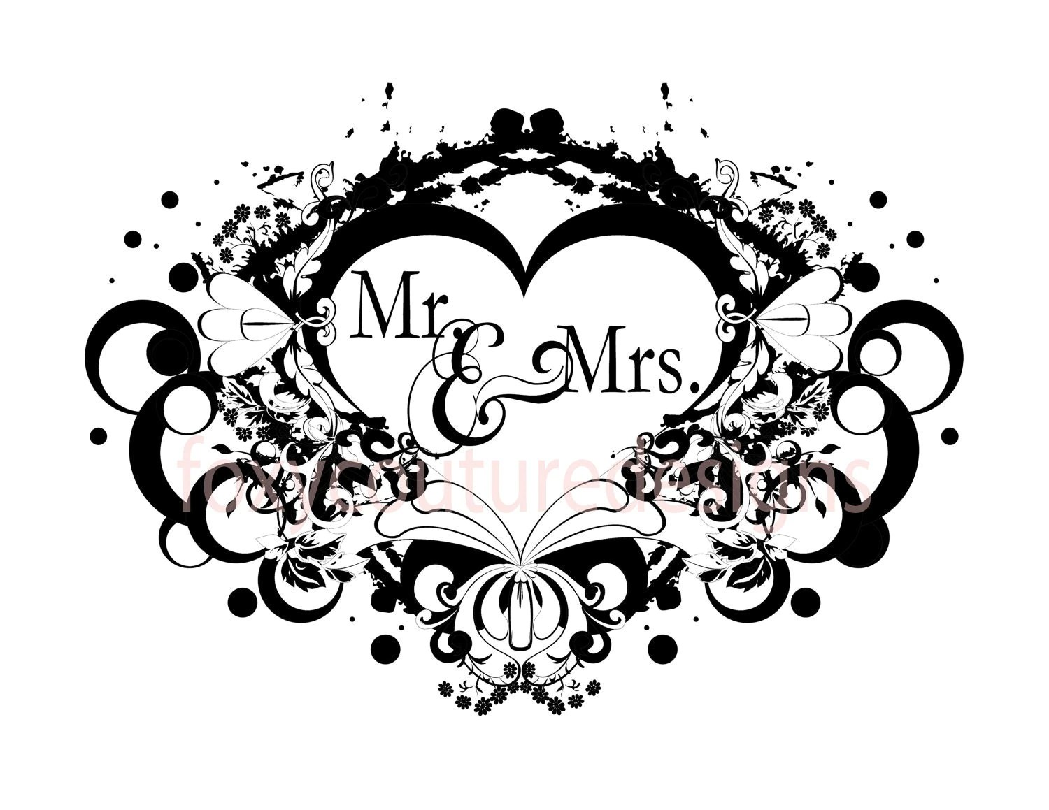 Mr And Mrs Vintage Filigree Heart Large By Foxycouturedesigns