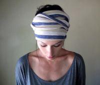 Striped Head Scarf Hair Wrap Headband All in One Womens