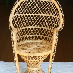 Fan Back Wicker Chair Acapulco Kmart Sale Vintage Miniature Peacock Chair. Planter.