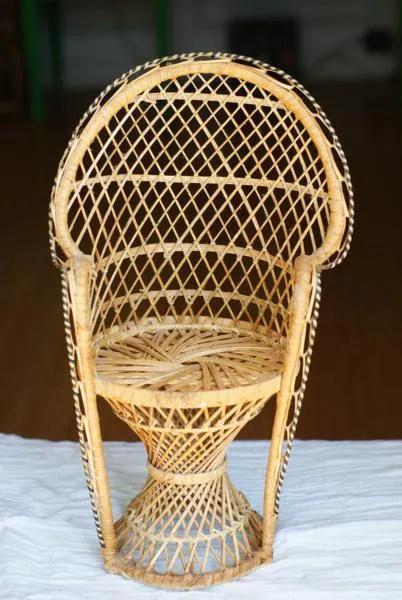 SALE Vintage Miniature Peacock Chair Planter Wicker Fan
