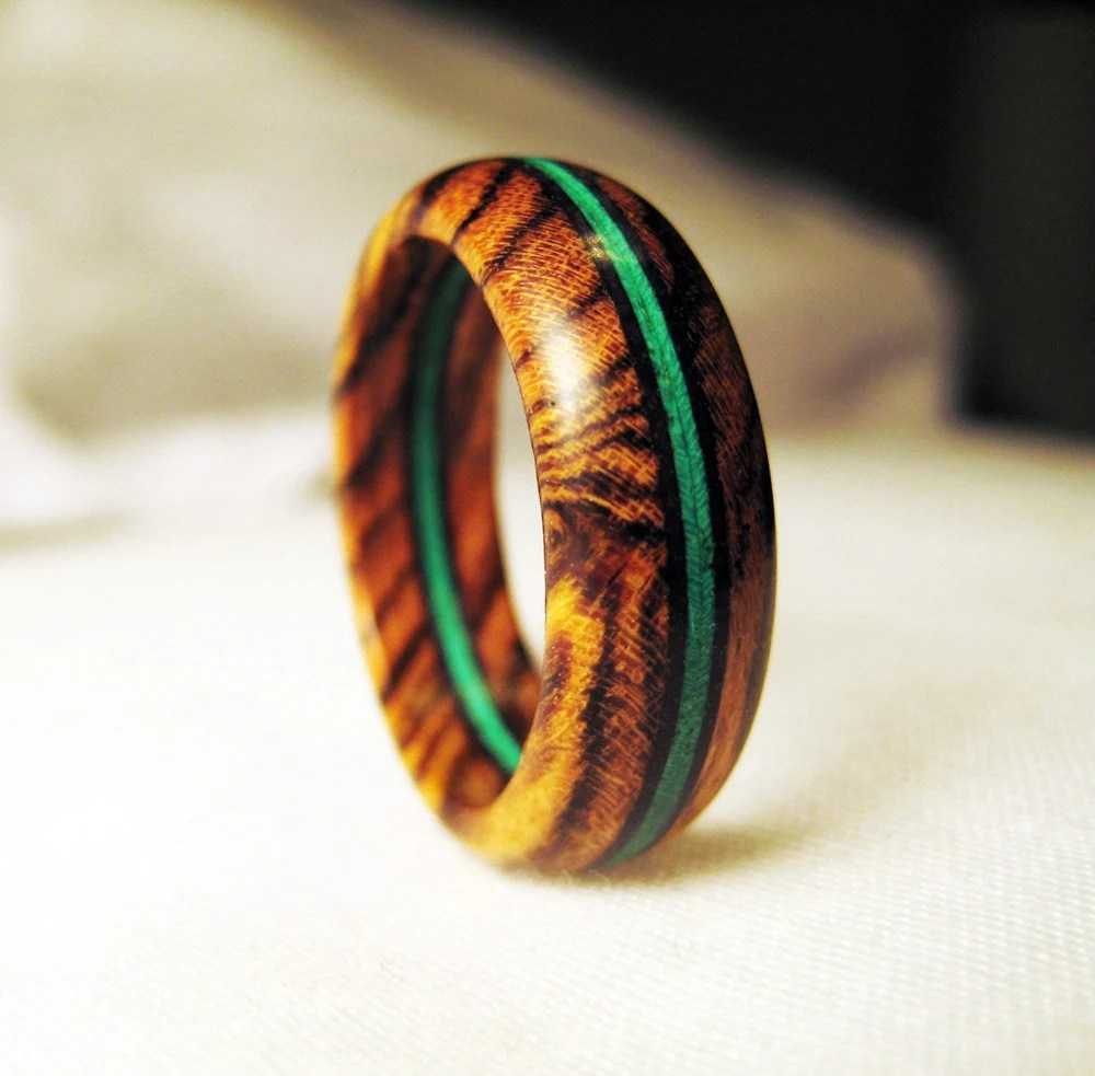 Bocote Wood Ring With Bright Green Veneer