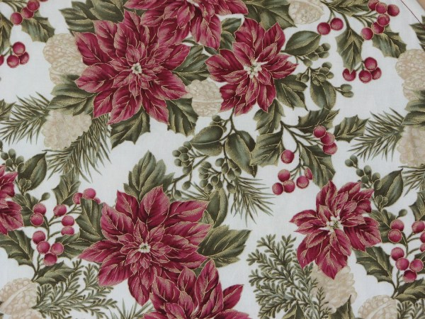 Items Similar Christmas Fabric Winter Garden Victorian Poinsettia -white Background Red