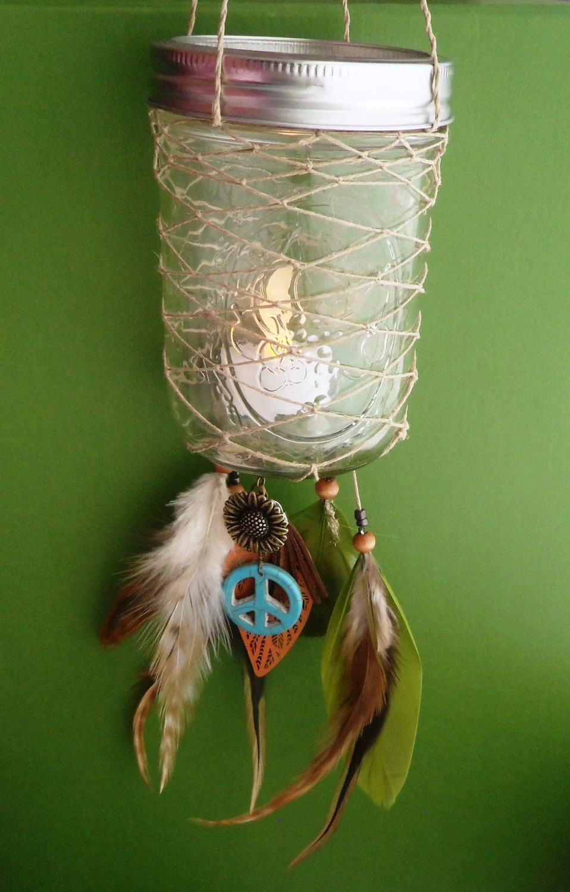 Dream Catcher Lantern Ball Jar Peace Bohemian Candle