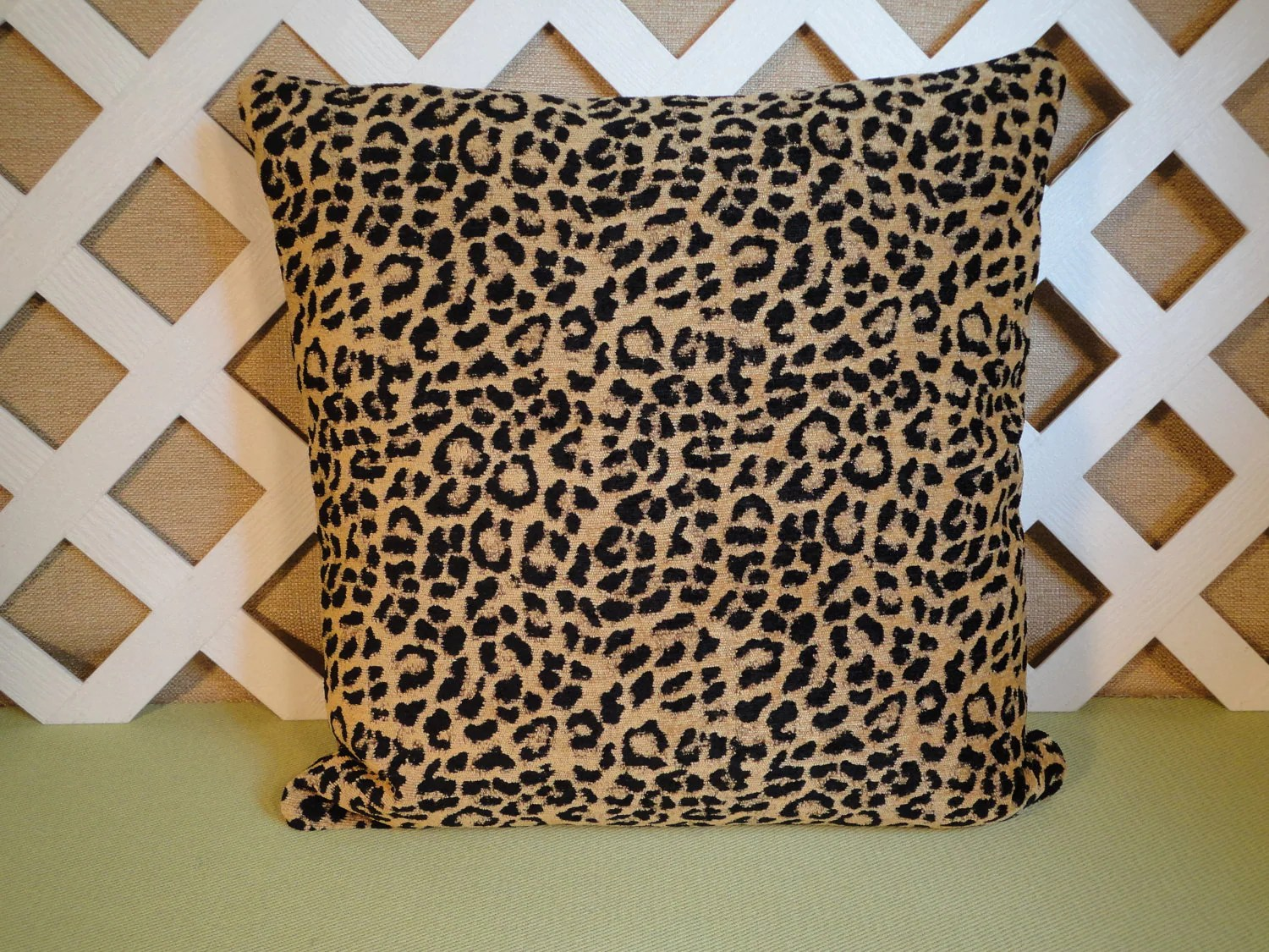 Leopard Print Pillow Cover Leopard Pillow Black and Tan