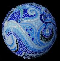 Mosaic Orb Blue Garden Sphere Glass Terracotta Gazing Ball