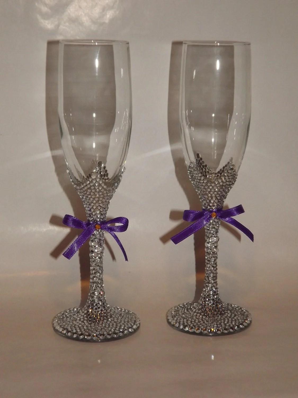 Rhinestone Bling Champagne Flutes Toasting Bridal by EVRhinestones