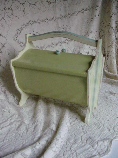 Vintage Wood Sewing Box Green Sea Glass Blue Light Ivory - upcyclesisters
