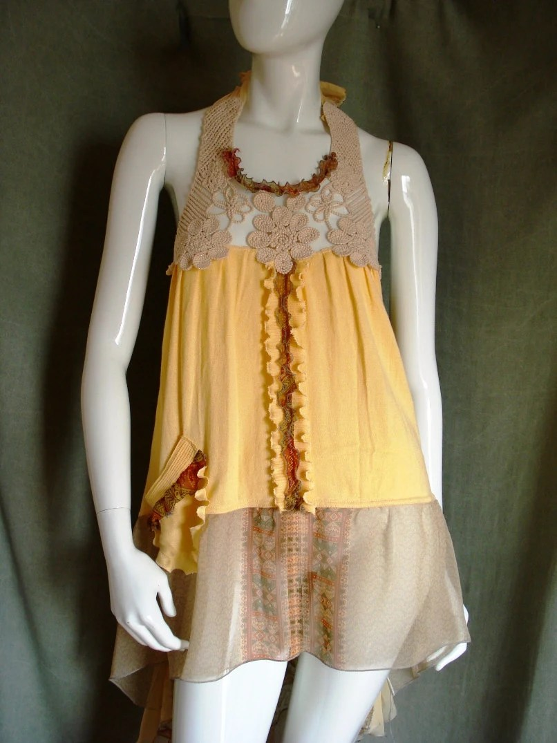 Altered couture summer halter tunic Reconstructed clothing
