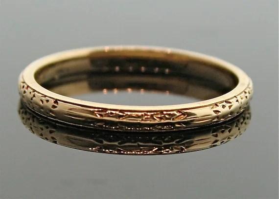 Antique 18k Rose Gold Engraved Wedding Band Ring