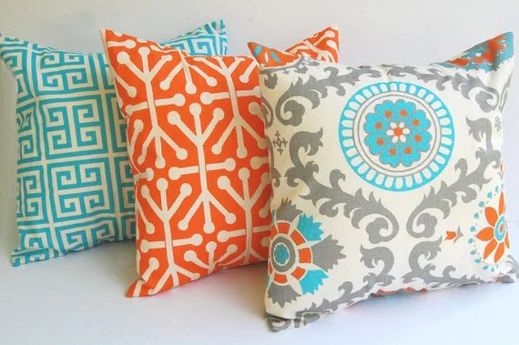 Orange and Turquoise Pillow Cover set of 3