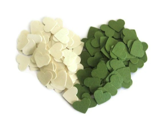 Woodland Wedding Heart Confetti: 600 Mini Hearts in Olive Green & Cream