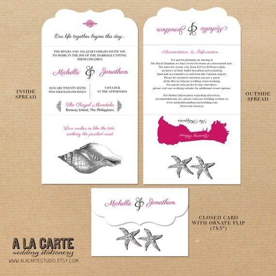 Beach Destination Wedding Tri Folded Ornate Wedding Invitation Card