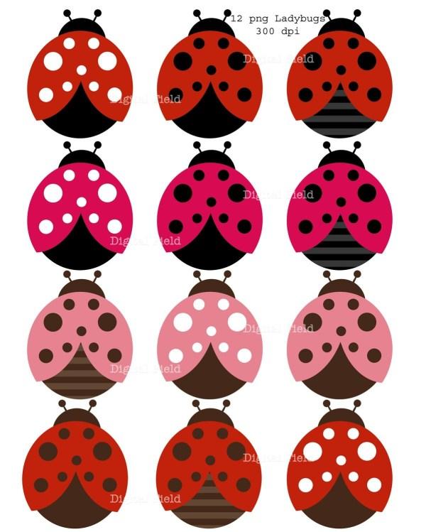 ladybug clip art set red black
