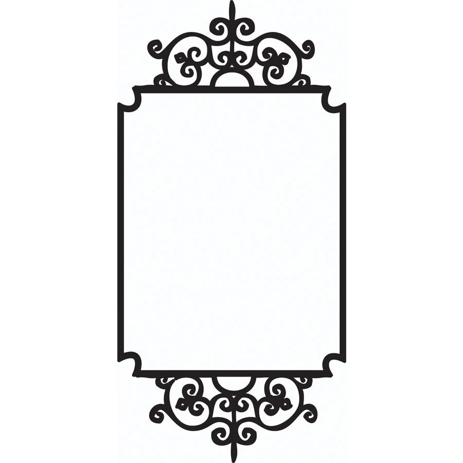 Wall vinyl wrought iron-look ornamental frame by