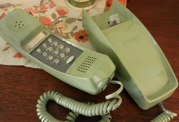 GTE Trimline Avocado Green Telephone/Green Trimline Push Button Desk or Wall Phone/1970s