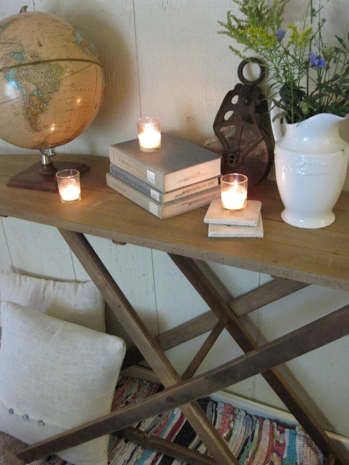 decorating a sofa console table best crate and barrel antique wood folding ironing board made sofa/side