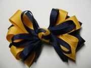 navy blue hair bow yellow gold