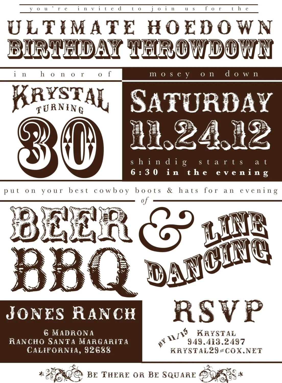 Printable Western Hoedown Birthday Invitation By Lobodesign