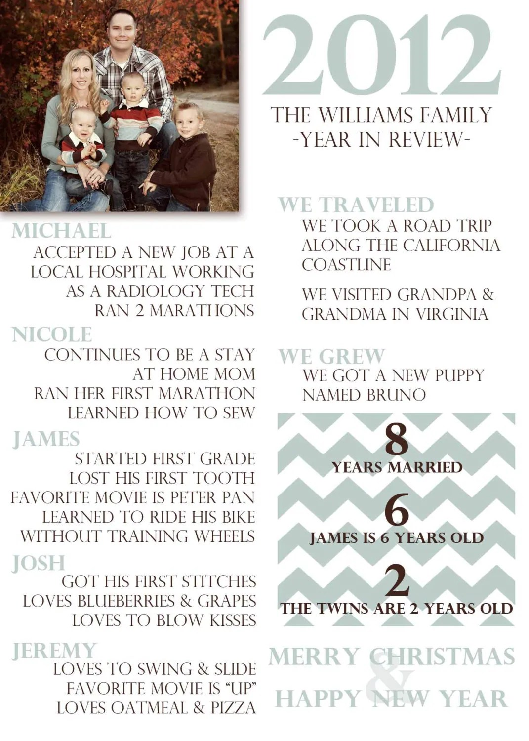 Chevron Stripe Year In Review Christmas Card By
