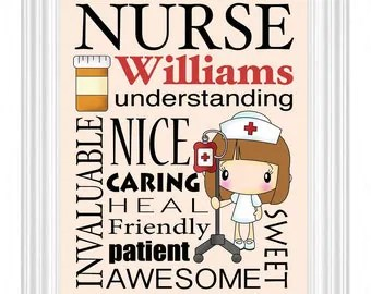 Nurses Gift Personalized Subway Sign Wall Art Custom Name Print RNNurse PractitionerNursing