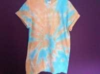 Medium Orange & Blue Tie-dye T-shirt