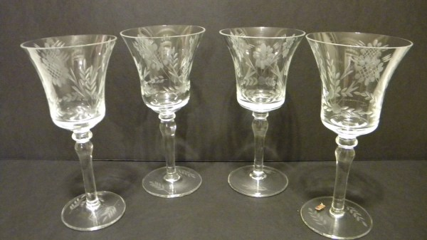 Vintage Crystal Clear Etched Hand Blown Romanian Wine Glasses