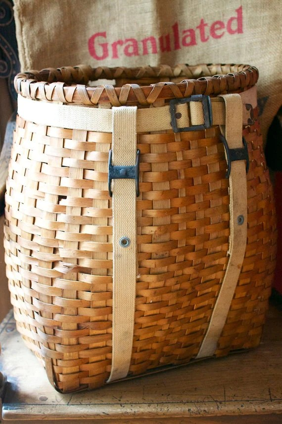 Woven Wood Trapper Backpack Basket Adirondack Nantucket