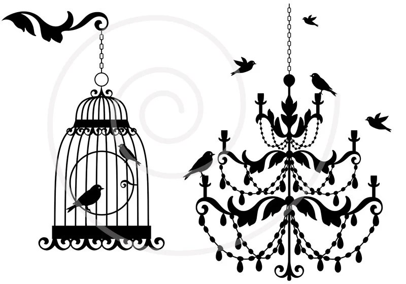 Vintage chandelier with birds and birdcage lamp clipart