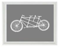 Bicycle Tandem Bike Vintage Wall Art Print White Gray