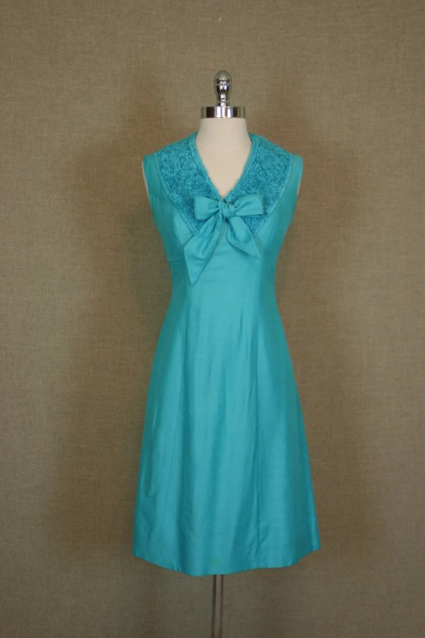 1960s Dress Vintage Turquoise Raw Silk Sheath