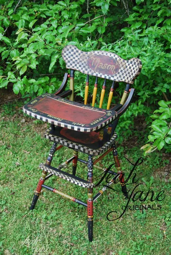first step high chair bedroom deals items similar to hand painted - custom wood vintage style heirloom one of a kind ...