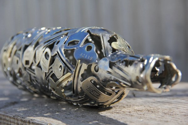 Metal Sculpture Wine Bottle Art