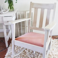 White Wood Rocking Chair Nursery Tufted Nailhead Dining Vintage Pink Shabby By
